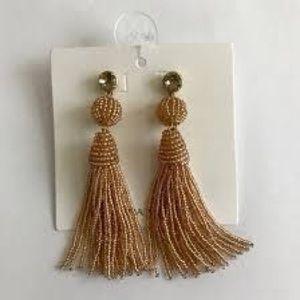 Rose Gold Beaded Tassel Earrings